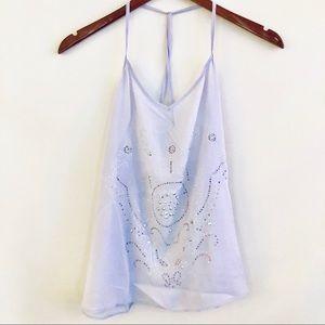 Lavender jewel embellished Cropped Cami Top sz M